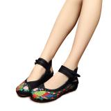 Gaya Cina Veowalk Sepatu Merak Bordir Katun Kasual Wanita Dia Datar Wanita Kuno Beijing Tua Kanvas Hitam Balet Veowalk Murah Di Tiongkok