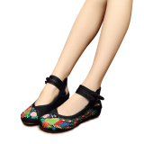 Harga Gaya Cina Veowalk Sepatu Merak Bordir Katun Kasual Wanita Dia Datar Wanita Kuno Beijing Tua Kanvas Hitam Balet Veowalk Original