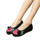 Beli Veowalk Sepatu Tombol Bunga Bordir Katun Kasual Wanita Flat Sepatu Wanita Gaya Retro Lembut Memakai Sepatu Kanvas Balet Hitam Di Tiongkok