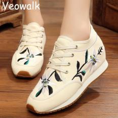 Promo Toko Veowalk Sepatu Sepatu Wanita Fashion Old Beijing Flat Platform 5 Cm Tumit Kasual Sepatustylecina Bunga Kain Bordir Sepatu Wanita Beige Intl