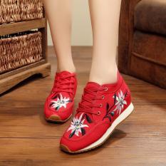 Jual Beli Veowalk Sepatu Sepatu Wanita Fashion Old Beijing Flat Platform 5 Cm Tumit Kasual Sepatustylecina Bunga Kain Bordir Sepatu Wanita Merah Intl Baru Tiongkok