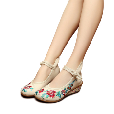 Toko Veowalk Sepatu Katun Bordir Floral Kasual Wanita Tali Pergelangan Kaki Sepatu Platform Wanita 5 Cm Medium Kanvas Wedge Tumit Sepatu Krem Murah Tiongkok