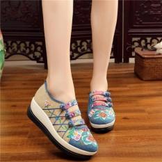 Daftar Harga Veowalk Sepatu Floral Wanita Bordir Linen Kanvas Slip Ons Platform Sepatu Biru Intl Veowalk
