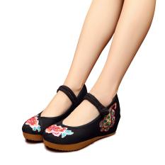 Toko Veowalk Sepatu Bunga Bordir Katun Kasual Wanita Sepatu Platform Gesper Wanita 5 Cm Pertengahan Tumit Sepatu Wedge Kanvas Hitam Online