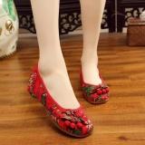 Beli Veowalk Sepatu Floral Printed Women Canvas Ballet Flats Ladies Casual Slip On Old Beijing Sepatu Merah Intl Cicilan