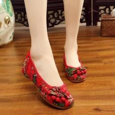 Veowalk Sepatu Floral Printed Women Canvas Ballet Flats Ladies Casual Slip On Old Beijing Sepatu Merah Intl Murah