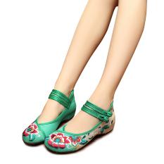 Diskon Veowalk Sepatu Bunga Katun Bordir Wanita Casual Linen Flats Sepatu Ankle Strap Vintage Ladies Canvas Lembut Balet Hijau Intl Veowalk Tiongkok