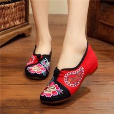 Veowalk Sepatu Bunga Kanvas Wanita Bordir Balet Flat Musim Semi Musim Gugur Casual Old Beijing Sepatu Hitam-Intl