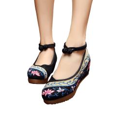 Dimana Beli Veowalk Sepatu Bunga Bordir Katun Kasual Wanita Sepatu Platform Pergelangan Kesemek Lemas 5 Cm Sepanjang Wanita Wedge Tumit Sepatu Kanvas Hitam Veowalk