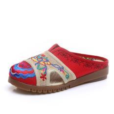 Perbandingan Harga Veowalk Sepatu Sepatu Bunga Bordir Wanita Cotton Linen Sandal Musim Panas Ladies Canvas Slide Flat Sandal Wanita Berjalan Nyaman Red Shoes Intl Veowalk Di Tiongkok