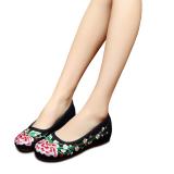 Beli Veowalk Sepatu Bunga Bordir Kain Katun Kasual Wanita Asia Sepatu Flat Wanita Tua Antik Denim Beijing Slip Kanvas Balet Hitam ต่างประเทศ Secara Angsuran