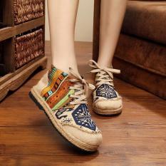 Harga Veowalk Sepatu Tinggi Top Thailand Gaya Wanita Bordir Casual Linen Cotton Flat Platform Lace Up Sepatu Untuk Wanita Biru Intl Yg Bagus