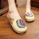 Spesifikasi Veowalk Sepatu India Bordir Wanita Slipper Slide Flat Musim Panas Fashion Ladies Canvas Outdoor Sandal Sepatu Beige Intl