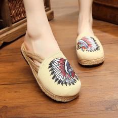 Cuci Gudang Veowalk Sepatu India Bordir Wanita Slipper Slide Flat Musim Panas Fashion Ladies Canvas Outdoor Sandal Sepatu Beige Intl