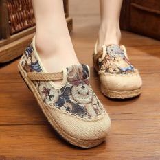 Veowalk Sepatu Linen Cotton Thailand Gaya Bear Wanita Bordir Casual Loafers untuk Kegiatan Outdoor Platform Sepatu untuk Wanita Biru-Intl