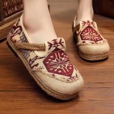Veowalk Sepatu Linen Cotton Thailand Gaya Wanita Bordir Casual Loafers Comfort Flat Platform Sepatu untuk Wanita Merah-Intl