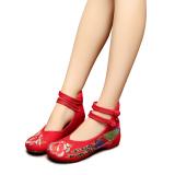 Jual Veowalk Sepatu Merak Bordir Wanita Katun Kasual Flats Sepatu Ankle Strap Vintage Ladies Canvas Lembut Balet Merah Intl Veowalk Murah