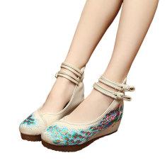 Spesifikasi Veowalk Sepatu Merak Payet Kasual Wanita Katun Gesper Sepatu Platform Beijing Tua 5 Cm Sepanjang Wanita Wedge Tumit Sepatu Kanvas Krem Murah