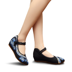Jual Veowalk Sepatu Ujung Runcing Mawar Bordir Katun Kasual Wanita Flat Sepatu Fashion Wanita Sepatu Platform Kanvas Hitam Veowalk Grosir