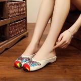 Jual Veowalk Sepatu Musim Panas Wanita Butterfly Bordir Cotton Slipper Slide Flat Krem Internasional Di Tiongkok