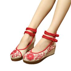 Promo Veowalk Sepatu Linen Bunga Matahari Bordir Wanita Casual Platform Sepatu Ankle Strap Ladies 5 Cm Heel Canvas Wedges Pompa Merah Intl Di Tiongkok