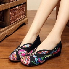 Harga Veowalk Sepatu Sepatu Vintage Wanita Bordir Linen Kanvas Balet Flat Ladies Old Beijing Sepatu Hitam Veowalk Original