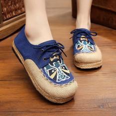 Toko Veowalk Sepatu Kasual Wanita Linen Cotton Flat Pantofel Sepatu Handmade Beijing Opera Bordir Rendah Lace Up Plaforms Untuk Wanita Biru Intl Terdekat