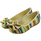 Harga Veowalk Sepatu Sepatu Wanita Colorful Linen Kanvas Balet Datar Ikatan Simpul Retro Comfort Slip On Shoes Hijau Veowalk Baru