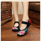 Jual Beli Veowalk Sepatu Wanita Kanvas Bordir Balet Flat Retro Mary Janes Kenyamanan Tradisional Bride Sepatu Hitam Intl Tiongkok
