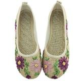 Toko Veowalk Sepatu Wanita Linen Kanvas Balet Flat Bunga Appliques Retro Comfort Slip On Shoes Beige Intl Termurah Tiongkok