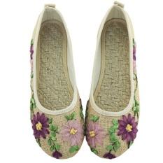 Toko Veowalk Sepatu Wanita Linen Kanvas Balet Flat Bunga Appliques Retro Comfort Slip On Shoes Beige Intl Veowalk Di Tiongkok