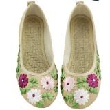 Toko Jual Veowalk Sepatu Wanita Linen Bunga Appliques Balet Flat Gaya Etnik Kenyamanan Casual Walking Shoes Beige Intl