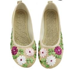 Jual Veowalk Sepatu Wanita Linen Bunga Appliques Balet Flat Gaya Etnik Kenyamanan Casual Walking Shoes Beige Intl Murah Di Tiongkok