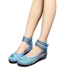 Veowalk Sepatu Sepatu Flat Wanita Merak Payet Merak Bordir Cina Beijing Tua Santai Menari Balet Kanvas Biru Promo Beli 1 Gratis 1
