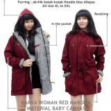 Beli Verlyn Store Jaket Parka Wanita Canvas Bolak Balik Merah Baru