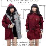 Promo Verlyn Store Jaket Parka Wanita Canvas Bolak Balik Merah Maroon Dki Jakarta