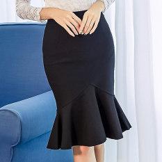 Diskon Korean Style Slimming Sheath Mid Length Skirt Fishtail Skirt Hitam Branded