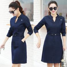 Harga Dress Jeans Wanita Gaya Korea Biru Tua Biru Tua Oem