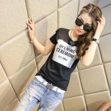 Versatile New Style Korean Style White T Shirt Top 371 Hitam Murah