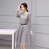 Beli Korean Style New Style Slim Fit Base Dress Abu Abu Tiongkok