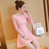 Beli Versi Korea Baru Temperamen Slim Gaun Merah Muda Secara Angsuran