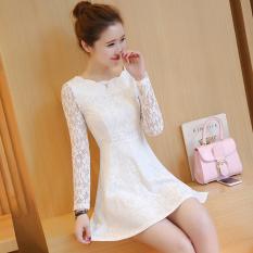 Jual Versi Korea Baru Temperamen Slim Gaun Putih Branded