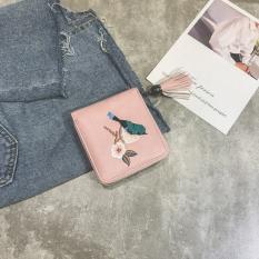 Dompet Uang Kecil Wanita Bordiran Modern Versi Korea (Merah muda)