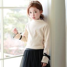 Gaya Korea dari Musim Semi atau Musim Gugur Model Anak Tanduk Lengan Kemeja Kerah Kemeja Kerah Kemeja (Krem)