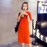 Harga Versi Korea Dari Bagian Panjang Baru Berkerudung Baju T Shirt Oranye Lengan Pendek Tiongkok