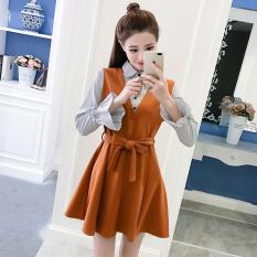 Toko Korea Fashion Style Semi Dan Baru Bagian Panjang Rok Bergaris Kemeja Warna Karamel Oem Tiongkok