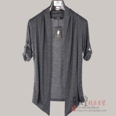 Beli Korea Fashion Style Bagian Tipis Kerah Slim Pakaian Pria Jas Cardigan Abu Abu Gelap Abu Abu Gelap Baju Atasan Sweter Pria Pake Kartu Kredit