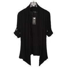 Beli Korea Fashion Style Bagian Tipis Kerah Slim Pakaian Pria Jas Cardigan Hitam Hitam Baju Atasan Sweter Pria Murah