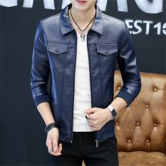 Jaket Kulit Pria Membentuk Tubuh Model Tipis Versi Korea Biru Tua Di Tiongkok