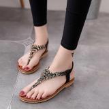 Toko Korean Style Crystal Female Student Flip Flop Sandals Flat Sandals Hitam Online Tiongkok